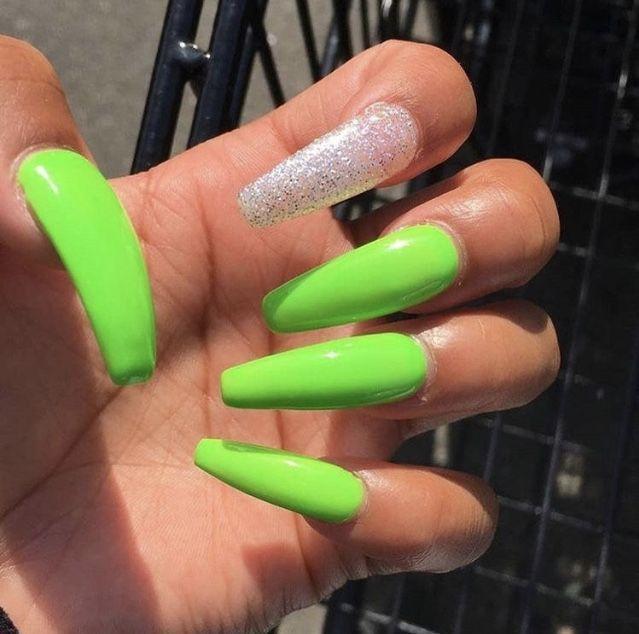 Acrylic Nails Coffin Green Green Nails Neon Neon Green Nails
