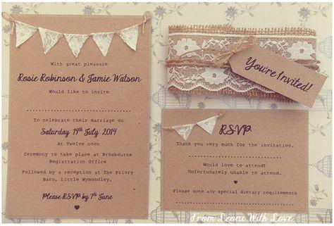 Spitzen rustikale Hochzeit Einladung Lace von FromLeoniWithLove