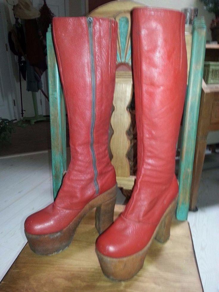 "Red Leather ""David Bowie"" Platform Boots #Giusti #PlatformsWedges #PartySpecialOccasion"
