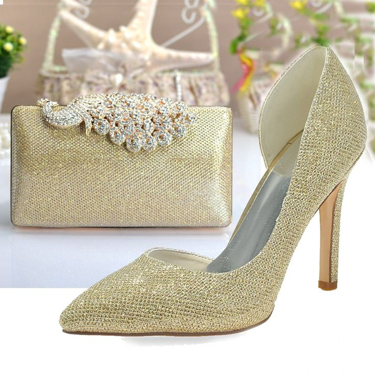 fashion pointed toe gold checked glitter shoes dorsay with clutch with regard to gold shoes and bags for wedding