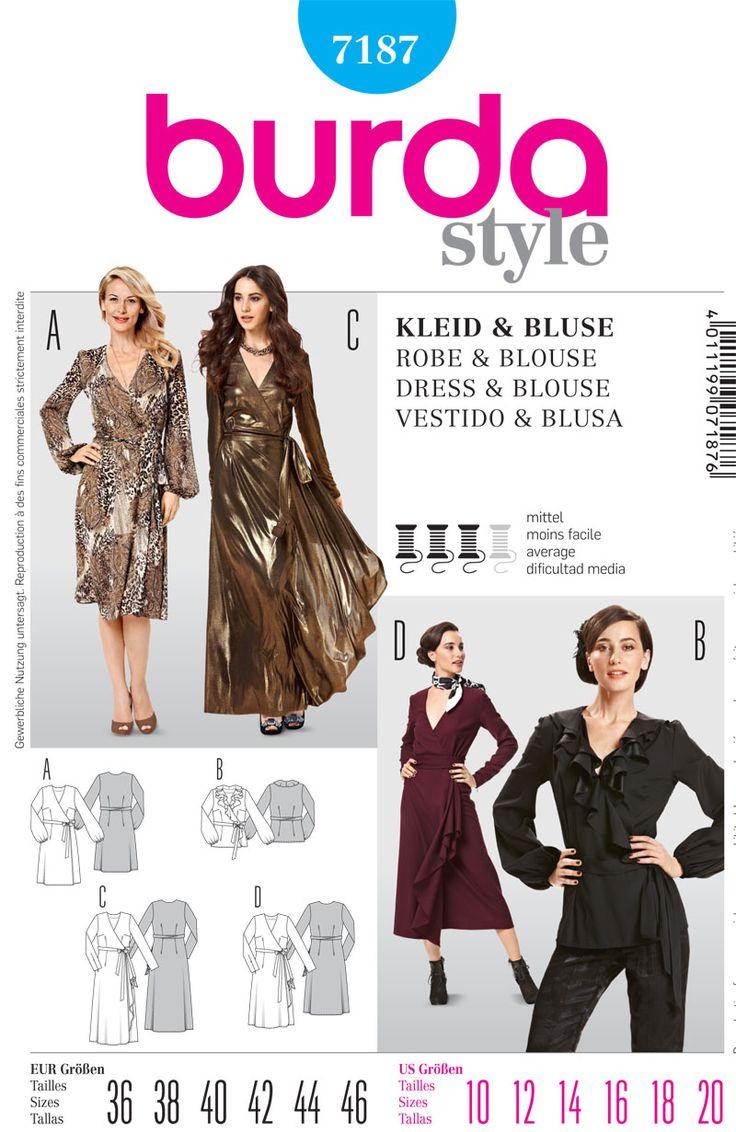 154 best patterns images on pinterest paper pieced patterns burda 7187 wrap dress jeuxipadfo Choice Image