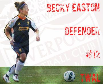 Becky Easton, defender, #12. A truly class-above Defender..typical hard-knocker and absolute go getter in 50/50 chances... Legend!