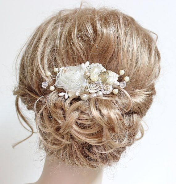 Champagne & Ivory Bridal Hair Comb- Wedding Hair Piece- Vintage Hair Accessories- Statement Bridal hairpiece-Champagne clip- Floral Haircomb...