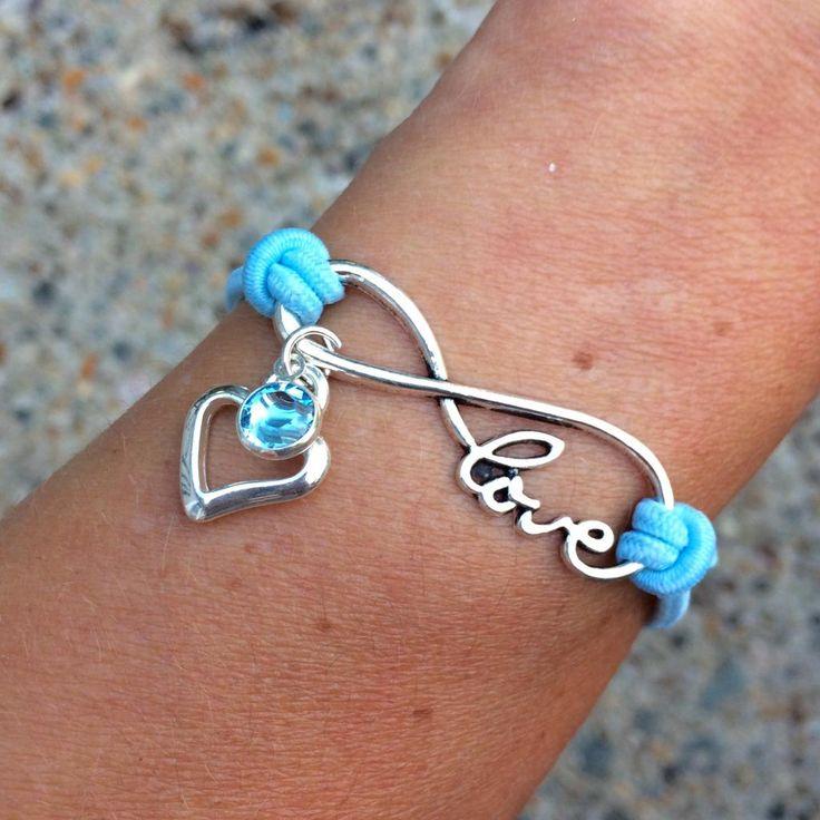 Open Heart Birthstone Infinity Love Bracelet