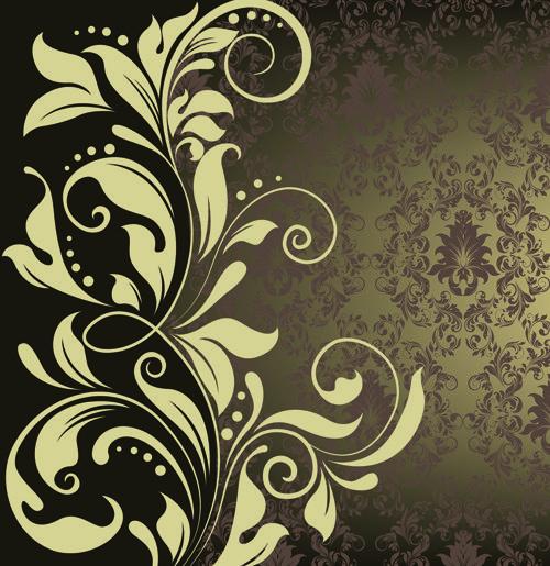 Free Vector Antique Backgrounds | Vintage Floral vector Backgrounds art 05 - Vector Background free ...
