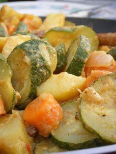 Recette Curry de légumes au lait de coco : Émincez les échalotes et l'oignon, écraser l'ail. Les faire revenir dans l'huile chaude avec les épices. Remue...