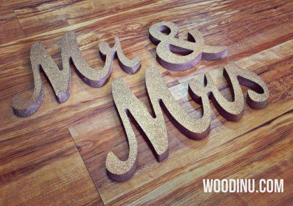 Gold Glitter-Herr & Frau Hochzeit Zeichen  Herr von WoodinYouSigns