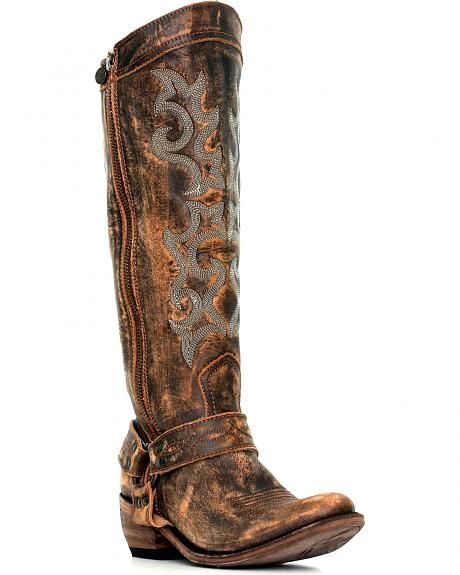 Liberty Black Women's Vintage Canela Tall Harness Boots - Round Toe