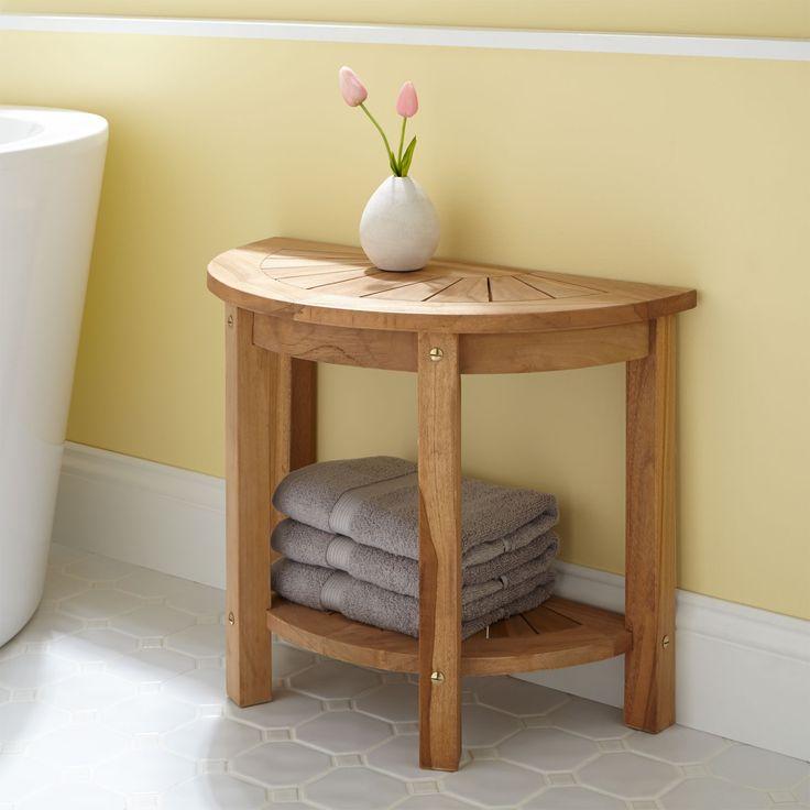 surya small halfcircle teak shower seat - Shower Benches