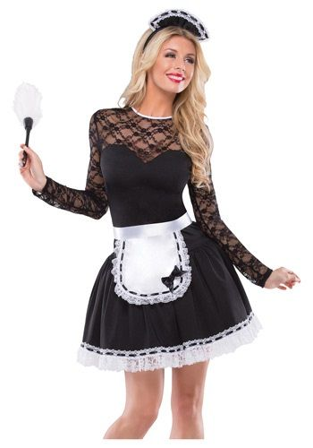 french maid needs some 'servile' touch up top to make it less evening-gown'y