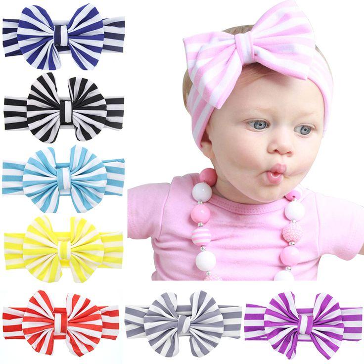 새로운 귀여운 아기 머리띠 큰 활 헤어 밴드 컬러 줄무늬 여자 머리띠 탄성 아이 헤어 액세서리 소녀 H131
