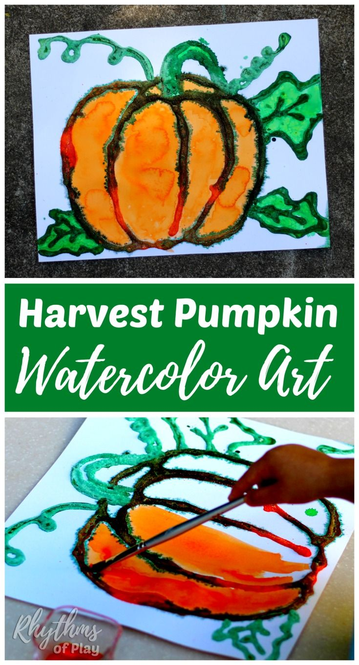 This harvest pumpkin watercolor art project is an easy painting idea for kids and adults. Kids from preschool age and up will enjoy the salt painting technique used to create this raised watercolor fall decoration. Click through to learn how to make your