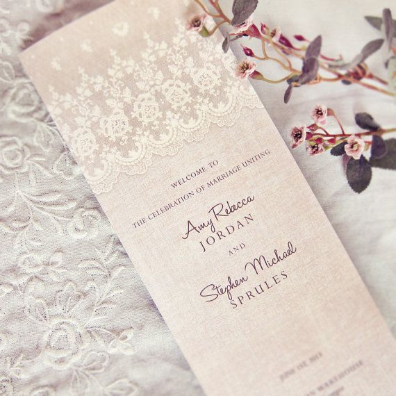 pink and lace wedding ceremony program