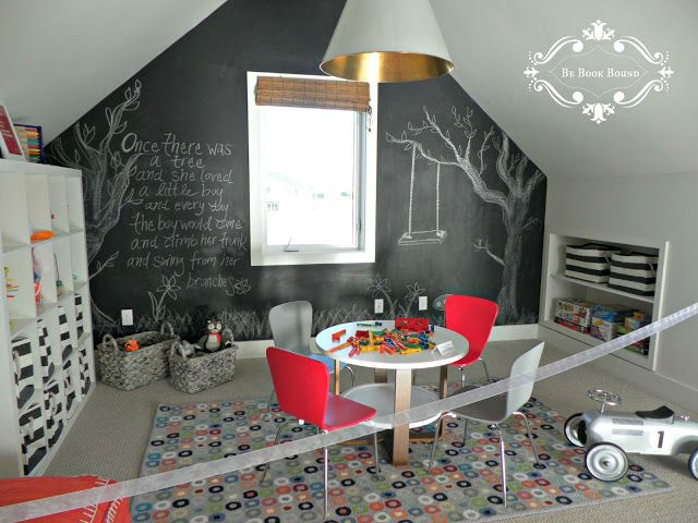 Chalkboard wall, organizers for toys and books, big pendant light, kids space