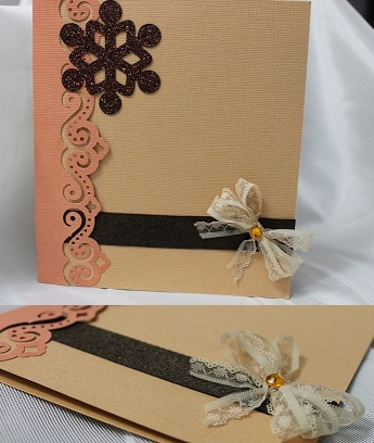 lace bow Christmas card