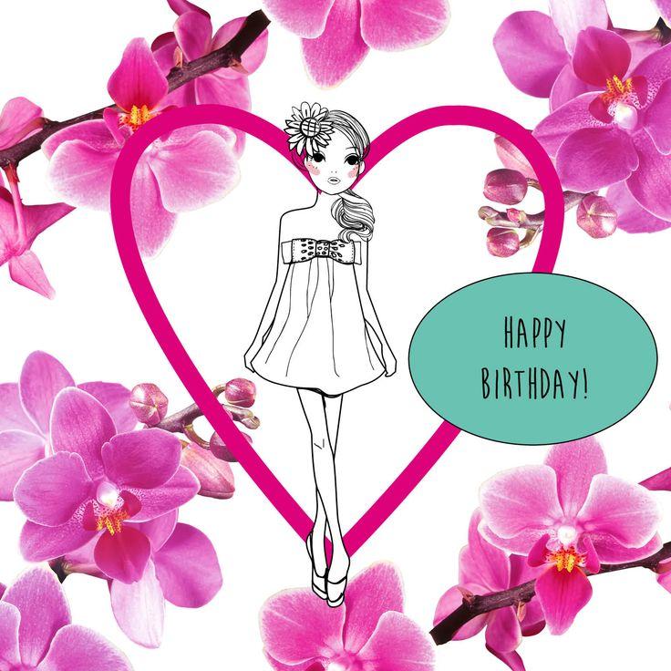Happy birthday fashion girl, heart ♥ orchids Van harte gefeliciteerd! Mode, vr…