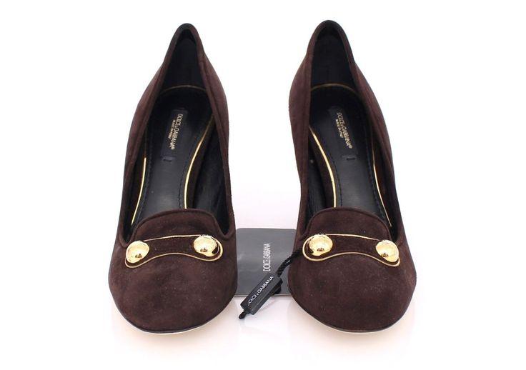 Dolce & Gabbana Brown Suede Block Heel Pumps Classic Shoes