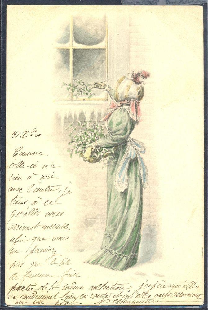 NV042 MM VIENNE BEAUTIFUL LADY Long GOWN MISTLETOE WINDOW SNOW 1900