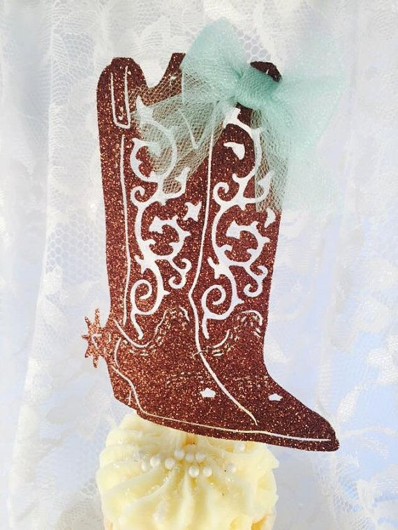 Western Birthday Party - Cowboy Boots - Boot Cupcake Toppers - Rodeo Party - Western Decorations - Customized - Set of 10 - Cowboy - Cowgirl