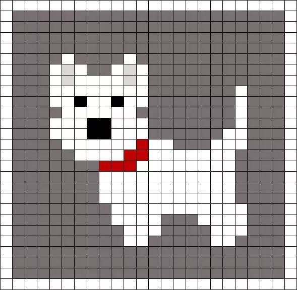 Little Scottie dog pattern chart, great for making crochet corner to corner C2C…