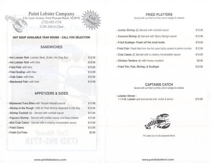 Point Lobster Menu