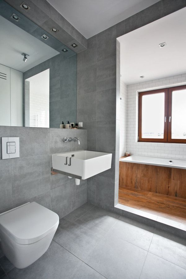 Grey tiled bathroom bathroom pinterest recessed for Bathroom ideas gray tile
