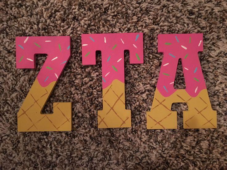 Zeta Tau Alpha painted sorority ice cream letters.