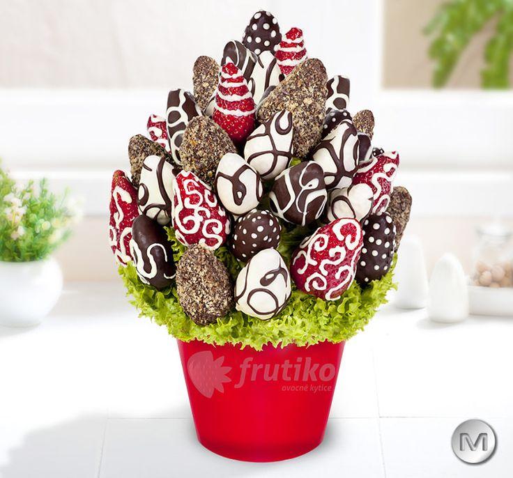Kytice Jahodová vášeň s belgickou čokoládou od Frutiko.cz