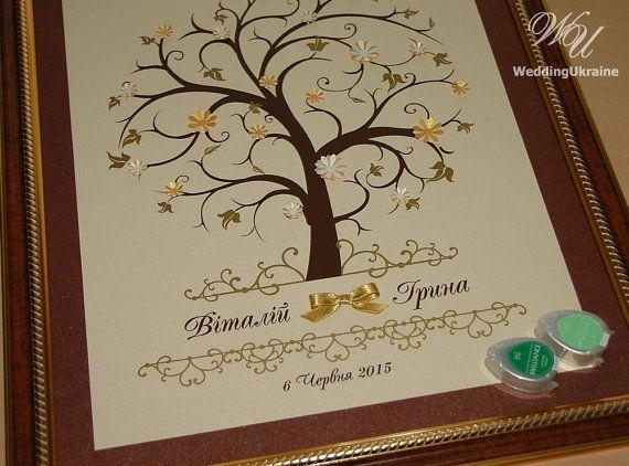 Albero di Wedding Guest Book di impronte digitali con nomi - albero di fioritura…