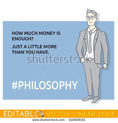 Poor man without money. Hashtag Philosophy. Meme card. Editable outline sketch. Stock vector illustration.