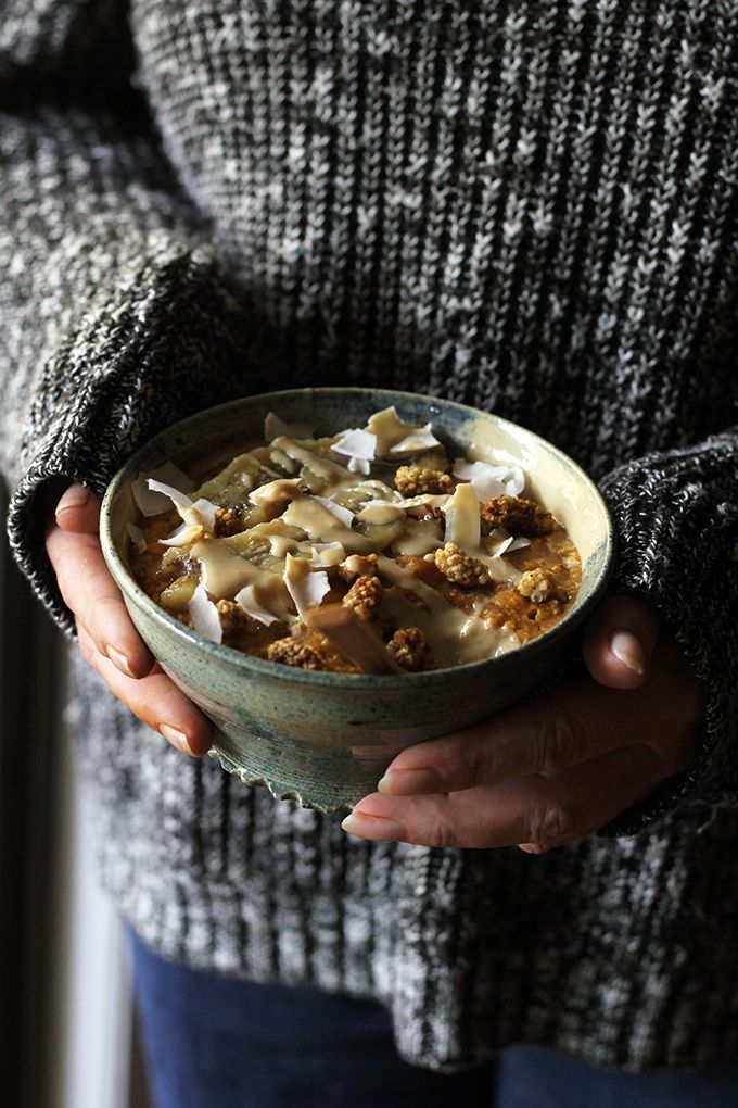 vegan pumpkin chai oatmeal with caramelized banana | love me, feed me: