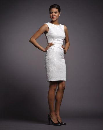 What to wear: Bride - The shimmer on this LWD gives it just the right amount of glitz while keeping it classic and sophisticated. The boat neck provides a balanced silhouette and creates the illusion of a smaller waist. This is ideal for coloured accessories with more of a flat finish. Black heels work well, but a nude shoe provides the longest leg. No white shoes allowed! Shop this look here: https://rentfrockrepeat.com/products/white-sequin-sleeveless-dress-with-back-cut-out