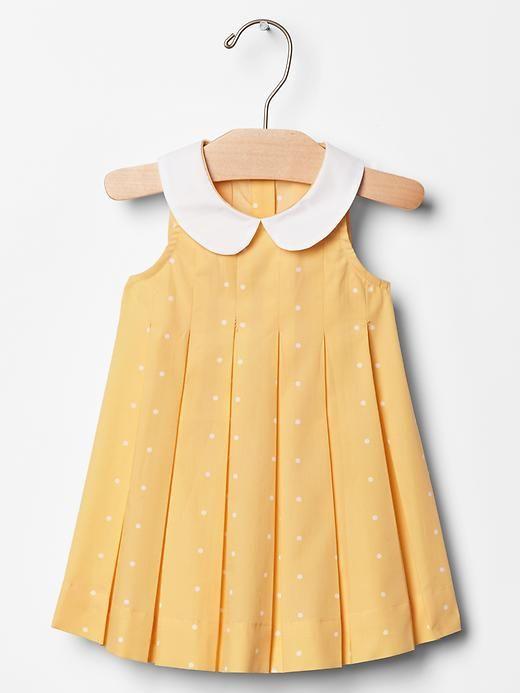 Contrast-collar dot dress Product Image