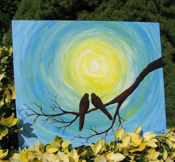 Love Birds in the Sun - Original Acrylic Painting on Etsy, $120.00