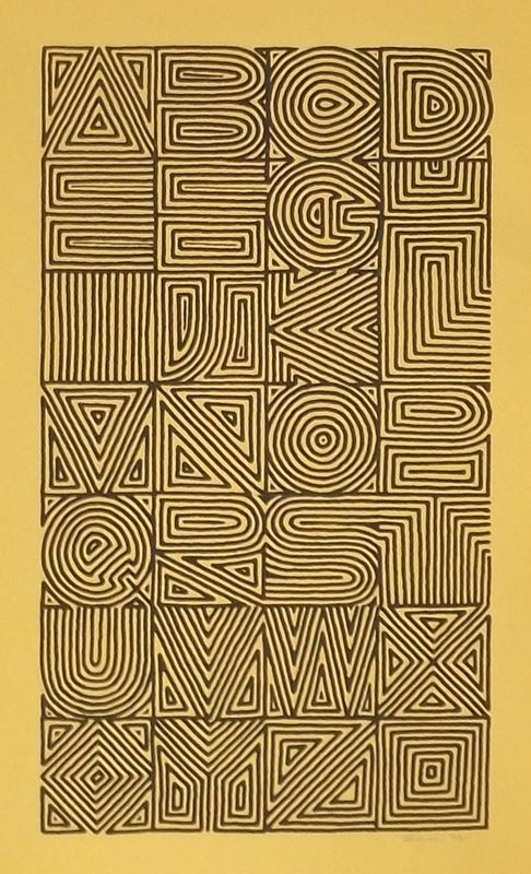 Calligraphy and Lettering Design- Broadsides  Books. Maze alphabet by Sally Wightkin.