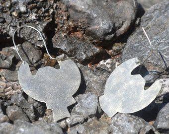 Boho alpaca silver earrings with abstract geometric shape