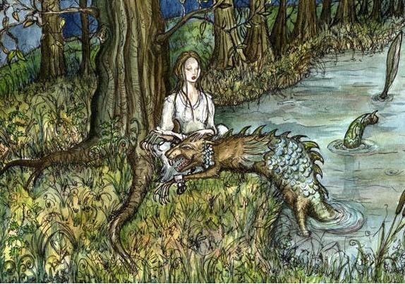아팡크(Afanc)  -거대한 비버 모습을 한 괴물의 일종. 악어나 큰뱀에 필적하는 힘을 가지고 있으며, 날카로운 발톱과 이빨이 있어서 어른 몇 명 이상의 힘이 있다. 보통은 강에 몸을 잠수한 채 인간이 들어오면 습격해 신체를 찢어 발긴다. 특히 아름다운 처녀를 좋아한다. 단, 상대가 처녀인 경우엔 무참히 죽이지는 않고 유괴해서 자기 근처에 놓아둔다. 어떤 전승엔 인간에게 잡혔을 때, 유괴한 처녀의 무릎을 베고 잠들어 있던 경우도 있다고 한다.