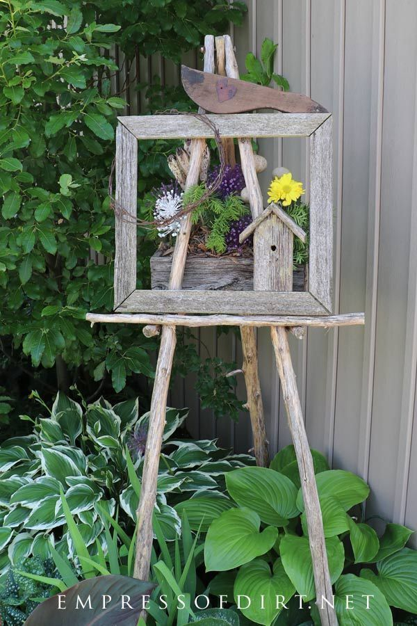 Rustic garden art easel with hostas. Throughout the gallery you will find more ideas like