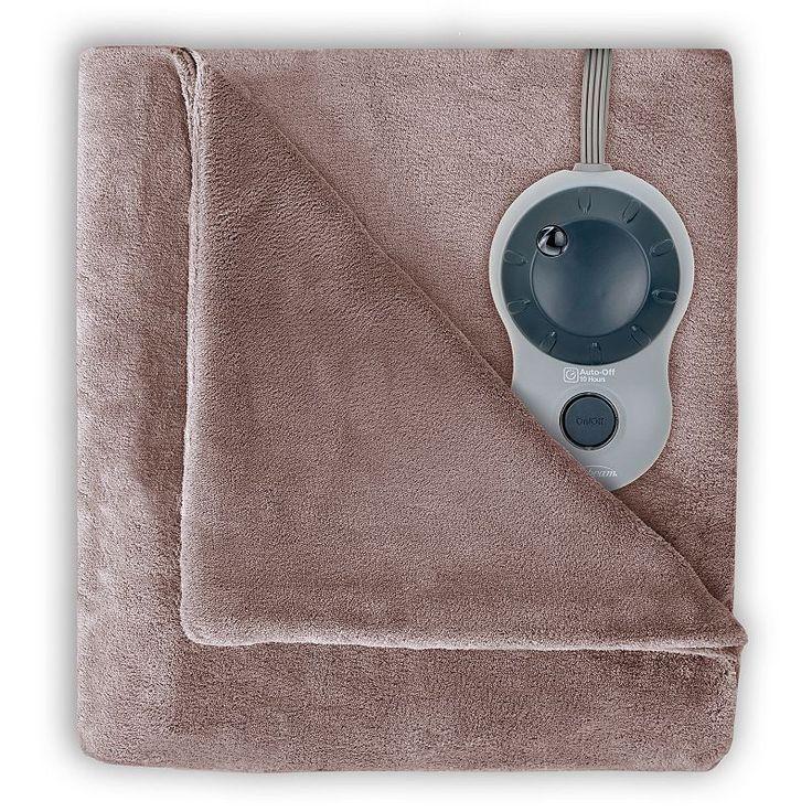 Sunbeam Velvet Plush Heated Blanket, Beig/Green (Beig/Khaki)