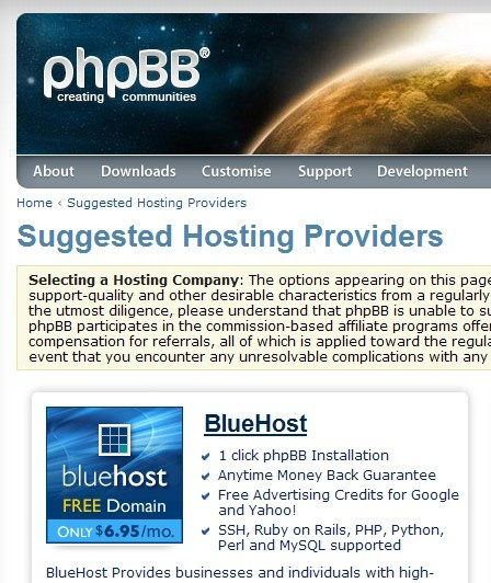 best forum web hosting recommended by Phpbb official
