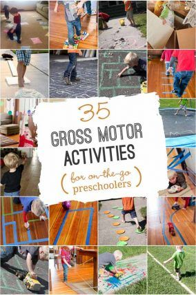 35 gross motor activities planned with preschoolers in mind! A great list to keep kids busy studying spring break!