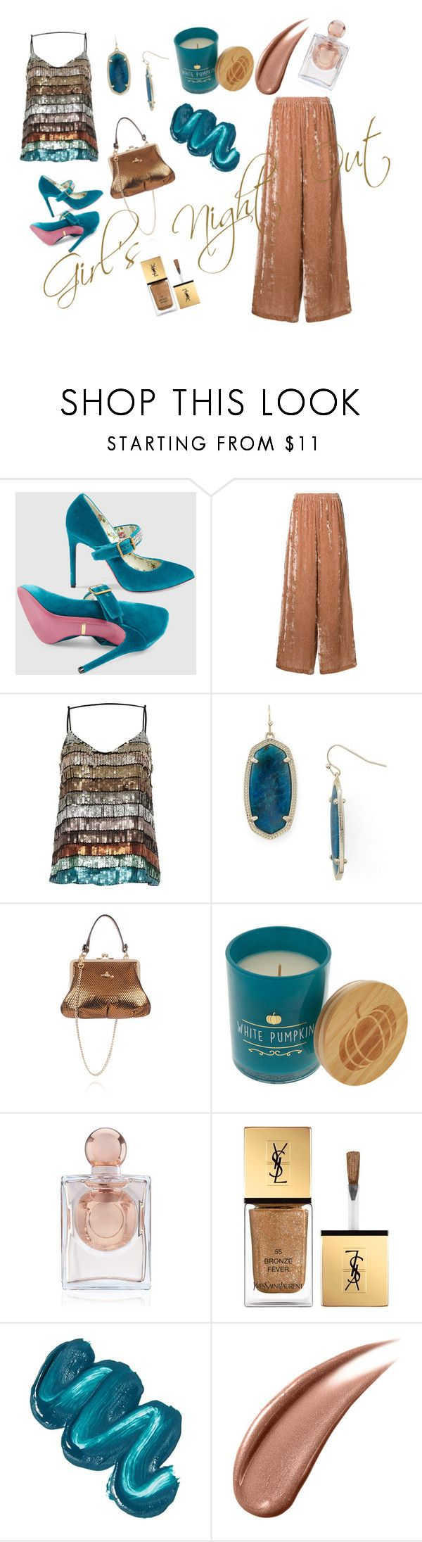 """""""Girl's Night Out"""" by pbeer on Polyvore featuring Gucci, Aula, River Island, Kendra Scott, Vivienne Westwood, La Perla, Yves Saint Laurent and Mermaid Salon"""