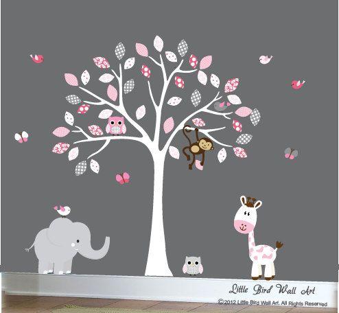 Baby white tree wall decal jungle wall art por Littlebirdwalldecals, $120.00