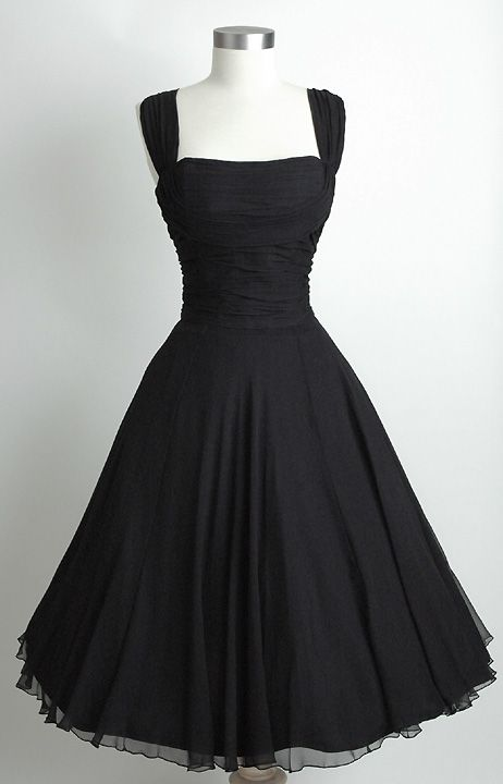 The PERFECT black dress to flatter ALL figures. The hourglass, feminine, epitome of beauty.  Would like to own one of these.