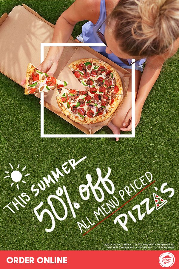 This summer, easy lunch is at your finger tips with Pizza Huts 50% off all menu-priced pizzas offer. Win the weekend when you order for your next party and get it before it's gone. Available online only through 7/23.