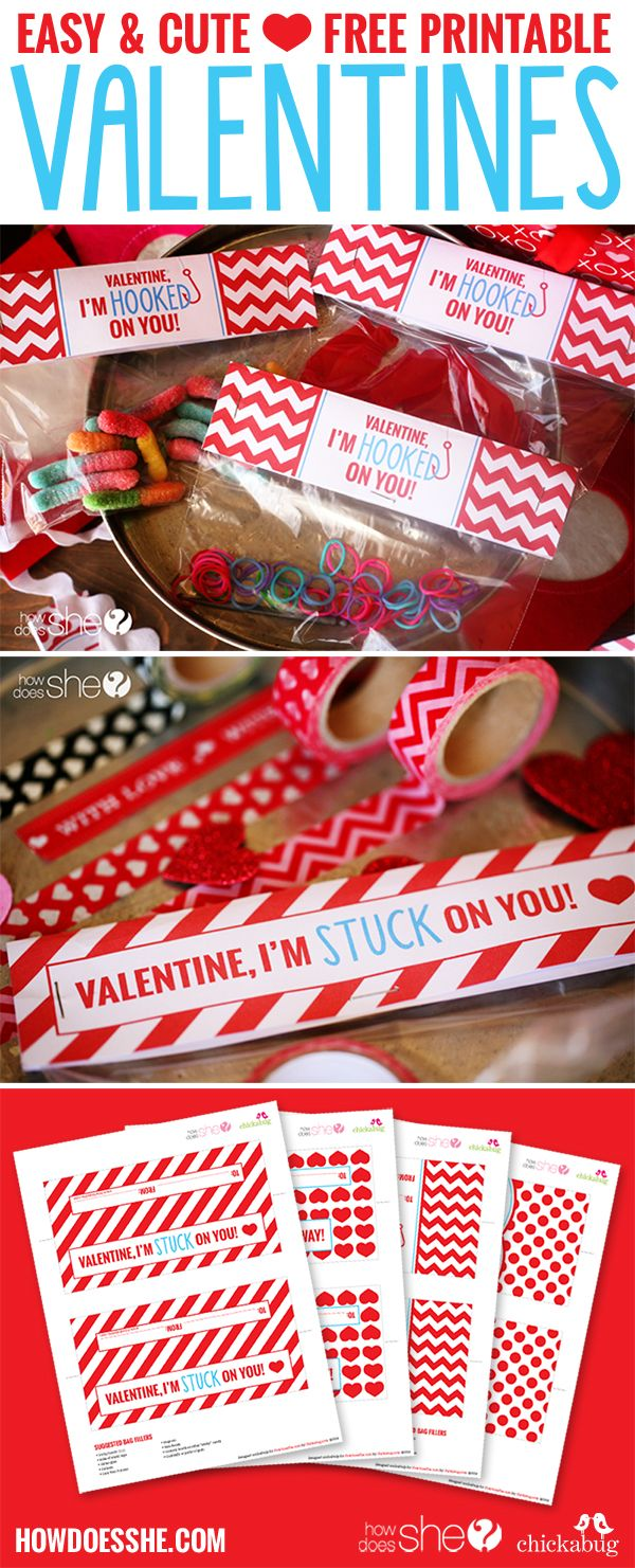 FREE, Easy and Cute Printable: Valentine's Day Bag Toppers! Use sandwich baggies and fill! Over 30 ideas (both candy, and non-candy ideas)!