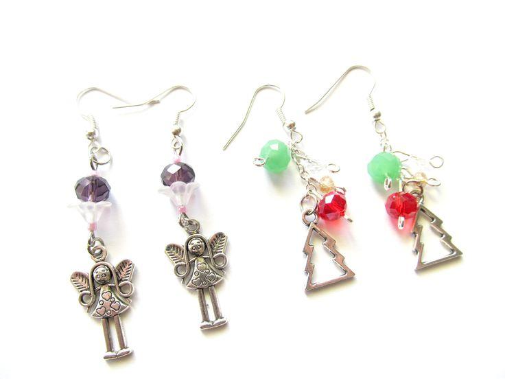 karácsonyi szett, christmas earrings, angel