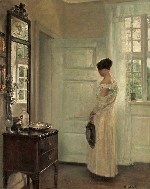 Salon Interior with a Woman, Carl Holsöe