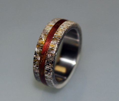 Titanium Ring Mens Wedding Band Deer Antler Wooden