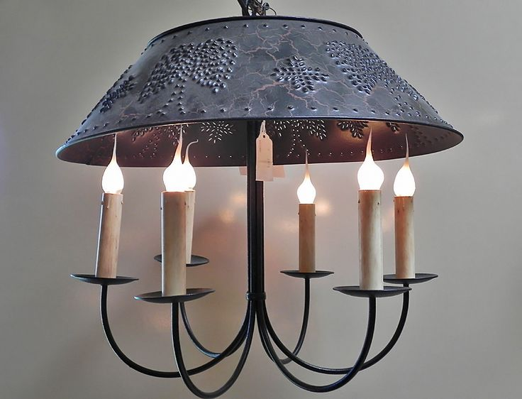 Black Metal Chandelier with Punched Tin Shade - 6 Lights